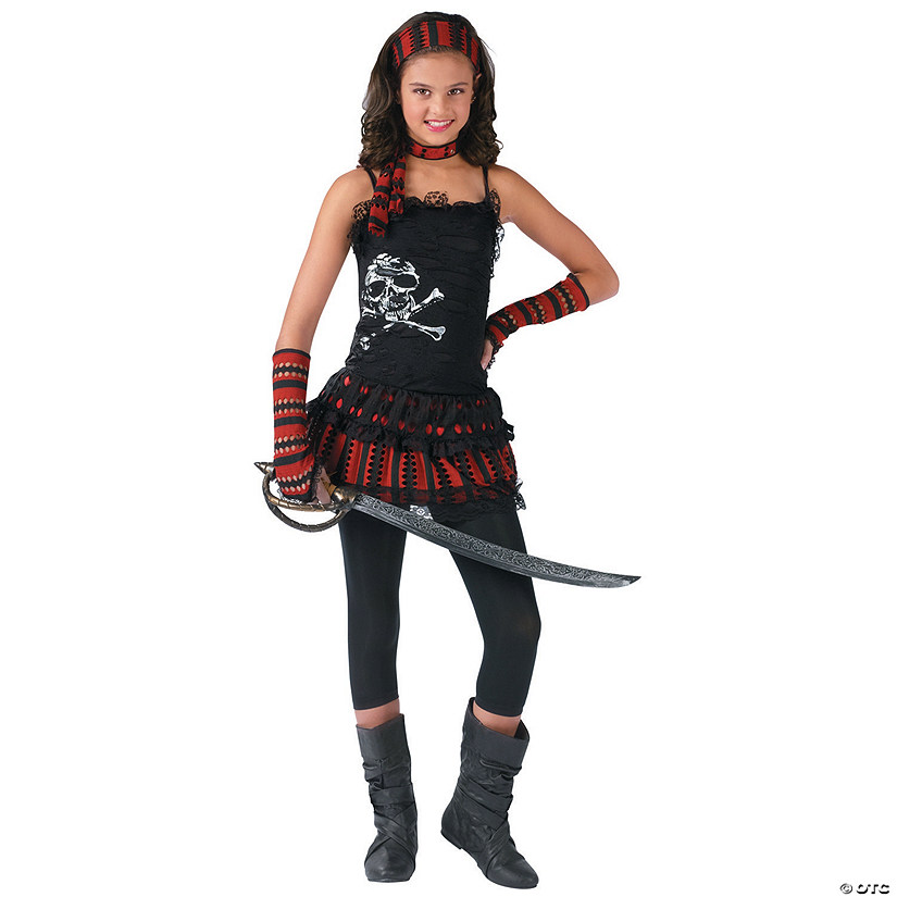 Girl's Pirate Skull Rocker Costume