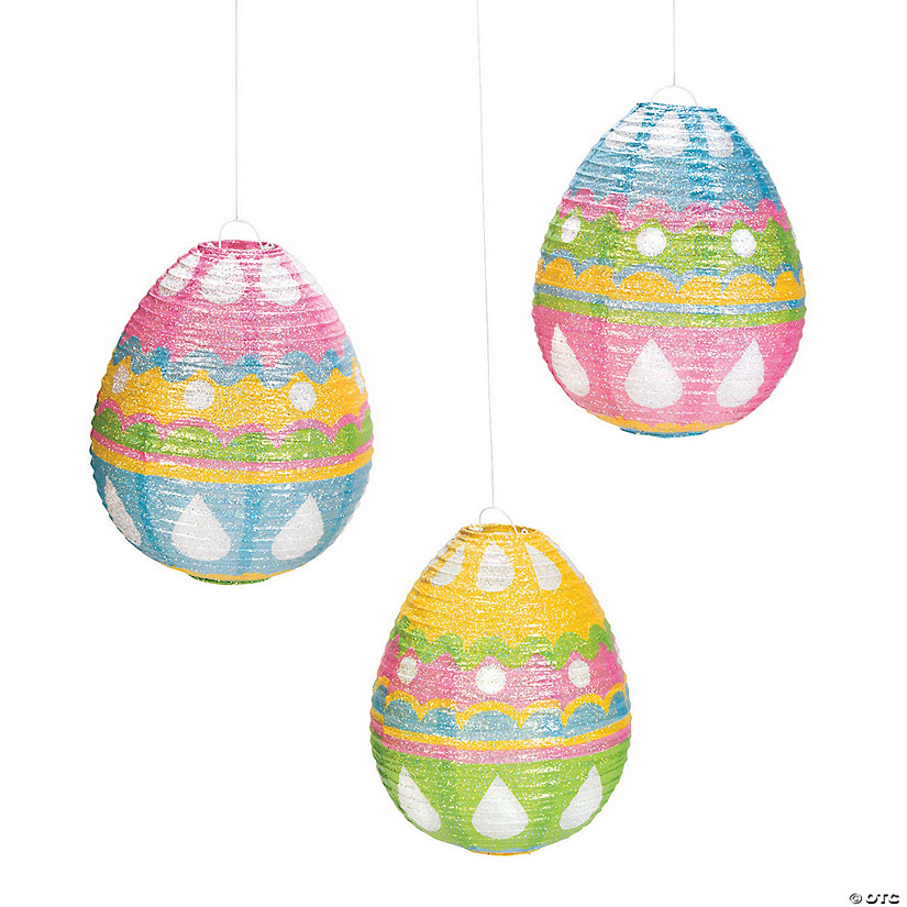 Glitter Egg-Shaped Hanging Paper Lanterns