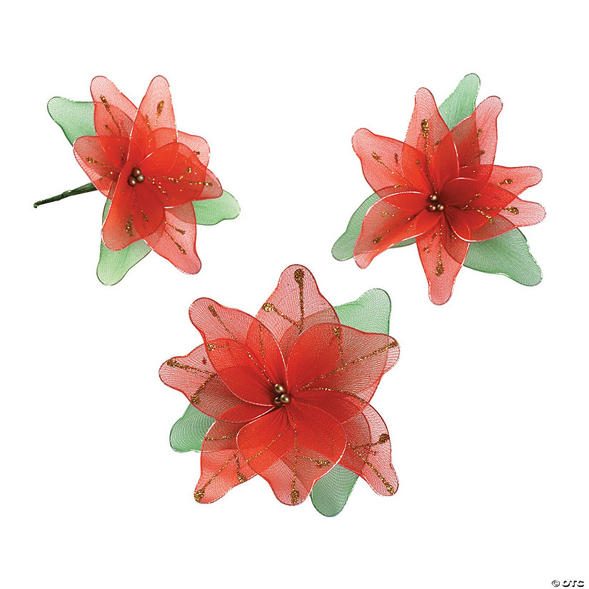 glitter poinsettia christmas ornaments - Poinsettia Christmas Decorations