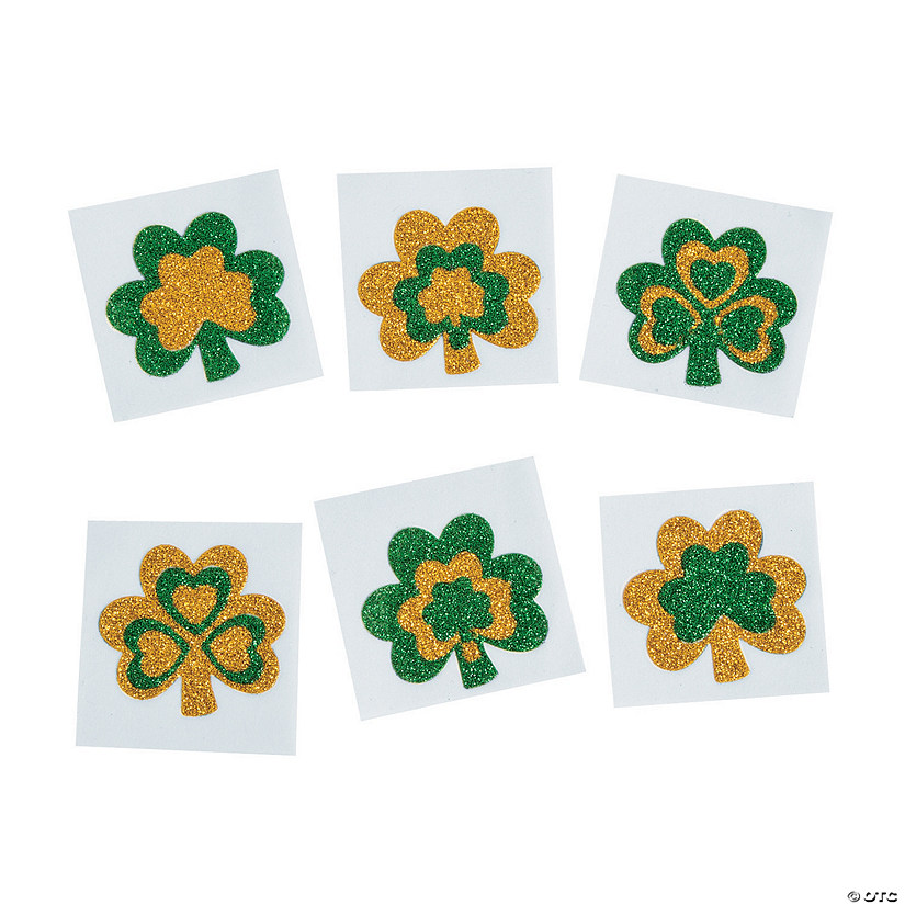 Glitter Shamrock Tattoo Stickers Image Thumbnail