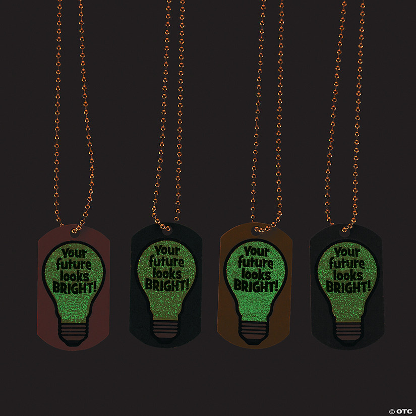 Glow-in-the-Dark Your Future Looks Bright Dog Tag Necklaces Audio Thumbnail