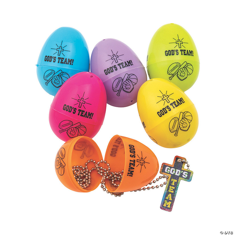 God's Team Necklace-Filled Plastic Easter Eggs - 12 Pc. Audio Thumbnail