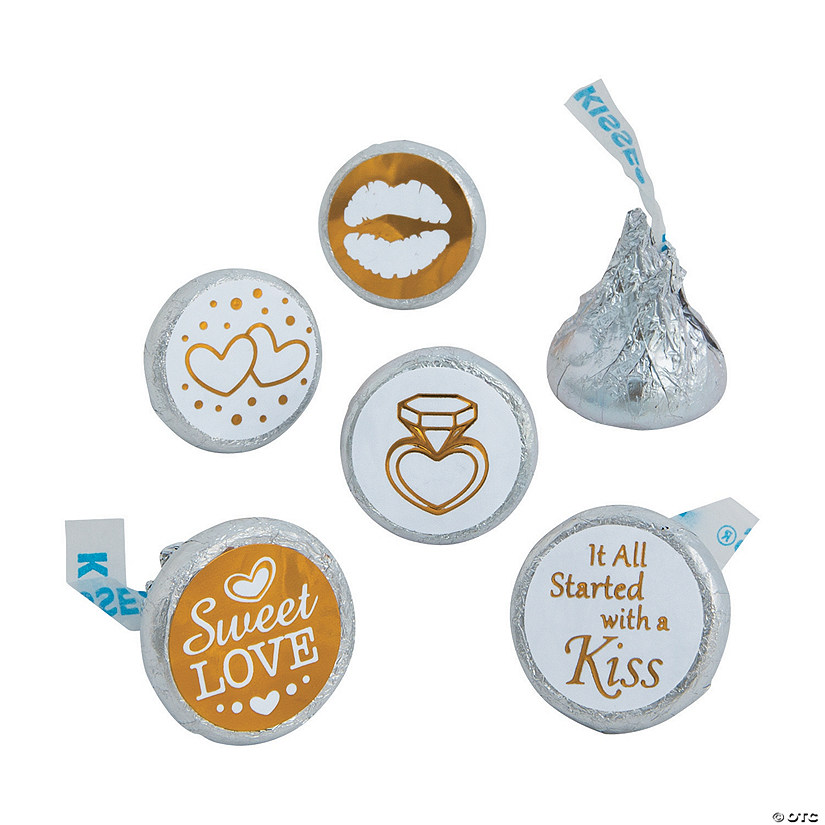 Gold & White Stickers for Hershey's® Kisses®  Audio Thumbnail