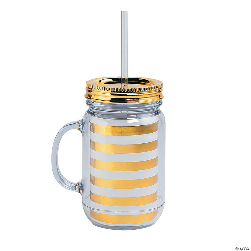 Gold & White Striped Plastic Jar with Straw & Lid Audio Thumbnail