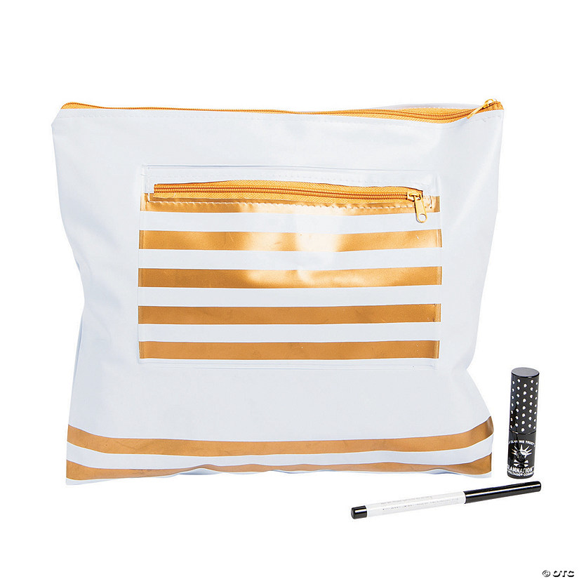 Gold & White Zipper Makeup & Swimsuit Bag Audio Thumbnail