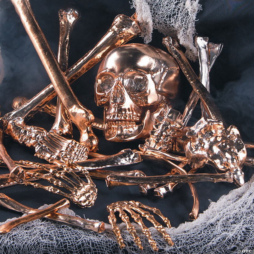 Gold Bag of Bones Halloween Decoration Image Thumbnail