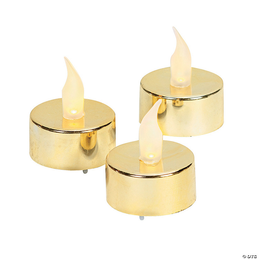 Gold Battery-Operated Tea Light Candles Image Thumbnail
