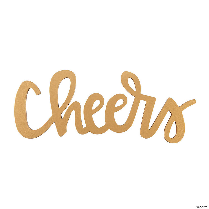 Gold Cheers Calligraphy Cutout Sign Audio Thumbnail