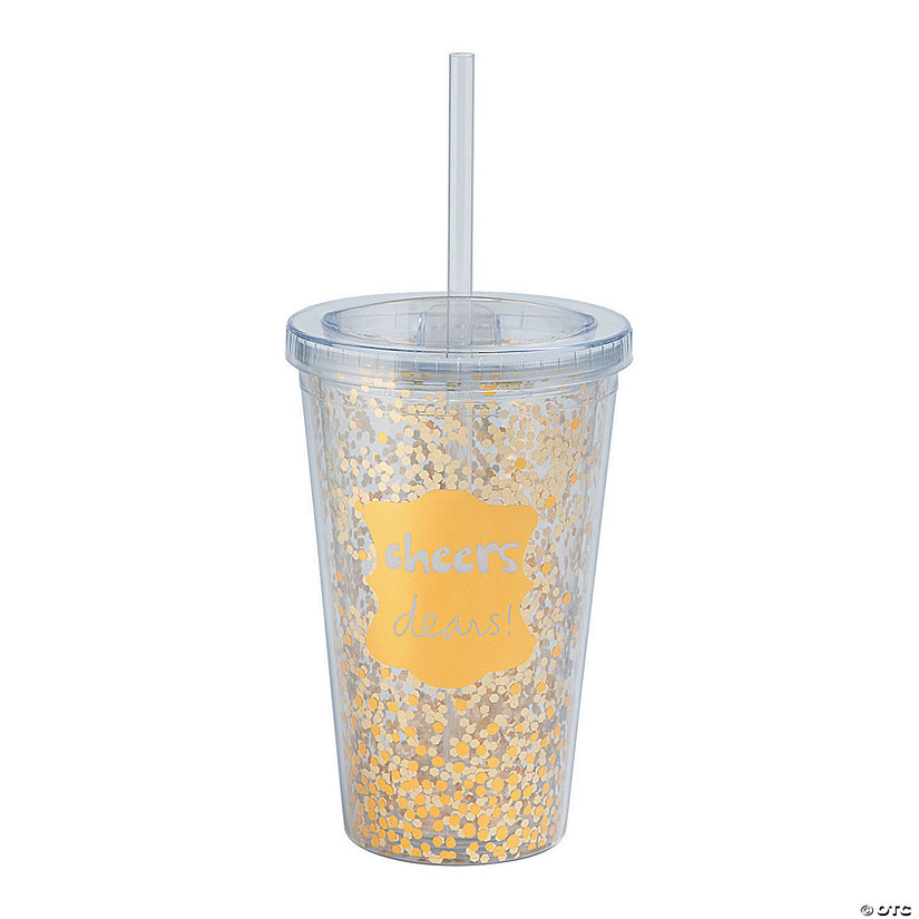 Gold Cheers Tumbler with Straw & Lid Image Thumbnail