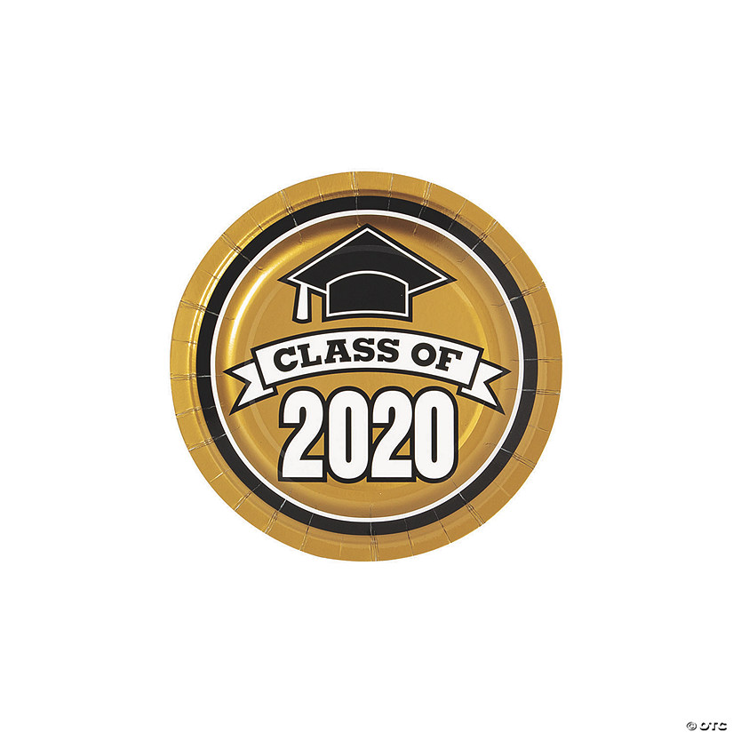 Gold Class of 2020 Paper Dessert Plates - 25 Ct. Audio Thumbnail