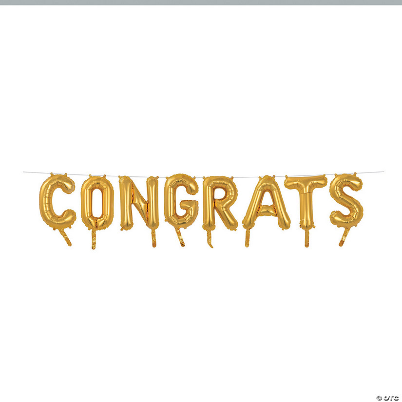 "Gold Congrats 16"" Mylar Balloon Banner Audio Thumbnail"