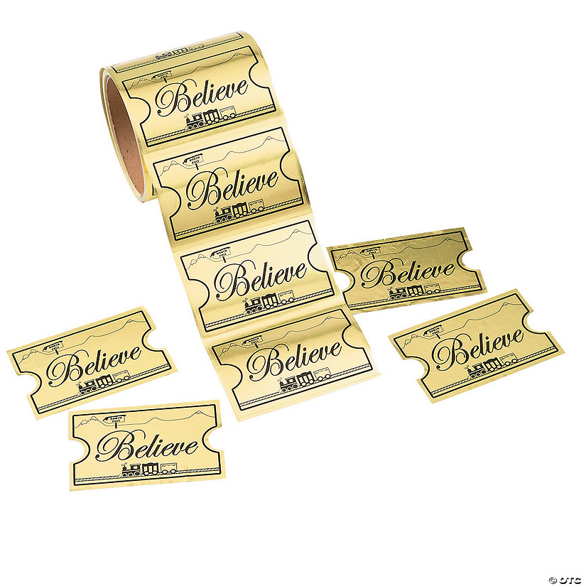 Gold Foil Believe Ticket Jumbo Sticker Rolls Audio Thumbnail