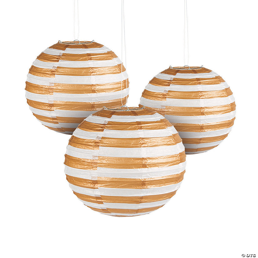 Gold Foil Striped Hanging Paper Lanterns Audio Thumbnail