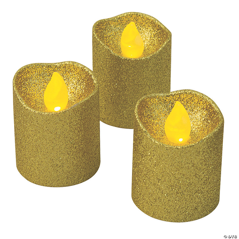 Gold Glitter Battery-Operated LED Votive Candles