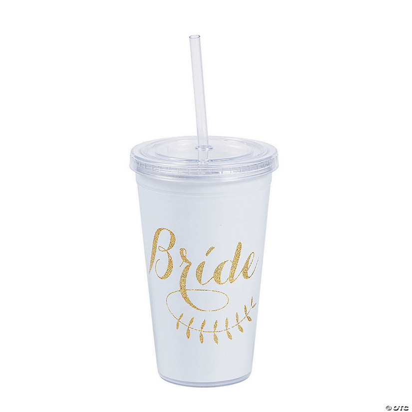 Gold Glitter Bride Plastic Tumbler with Lid & Straw