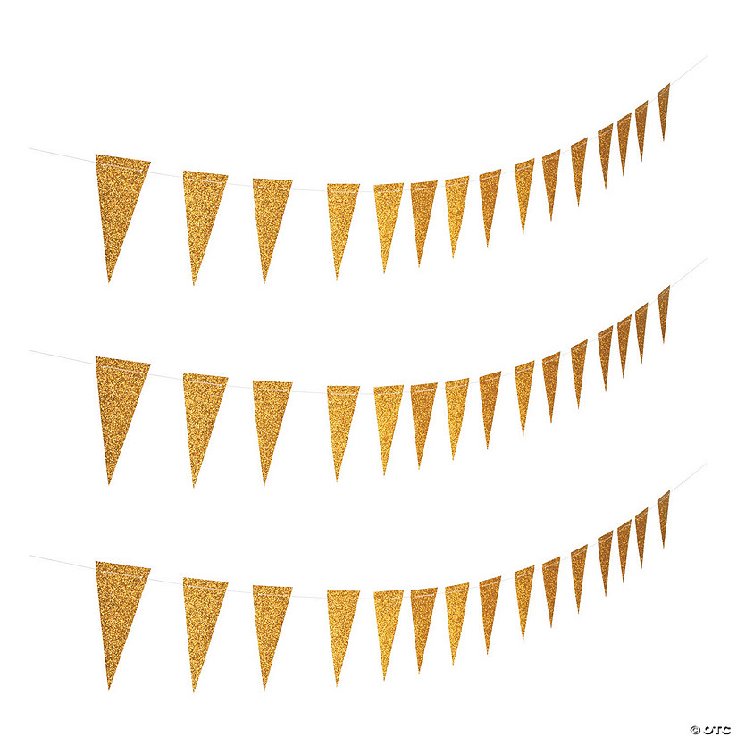 Gold Glitter Paper Pennant Banner Image Thumbnail