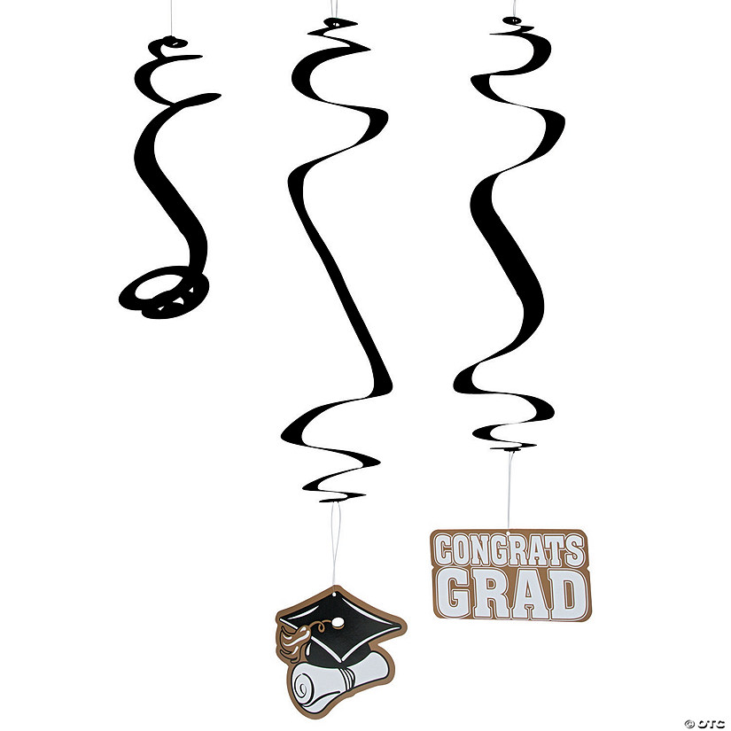 Gold Graduation Hanging Swirl Decorations - 30 Pc. Audio Thumbnail
