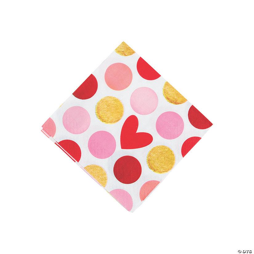 Gold Happy Valentine's Day Beverage Paper Napkins
