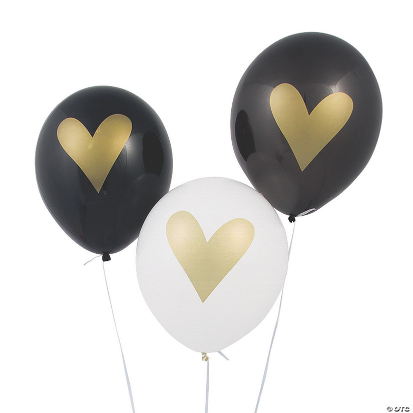 "Gold Heart Black & White 11"" Latex Balloons"