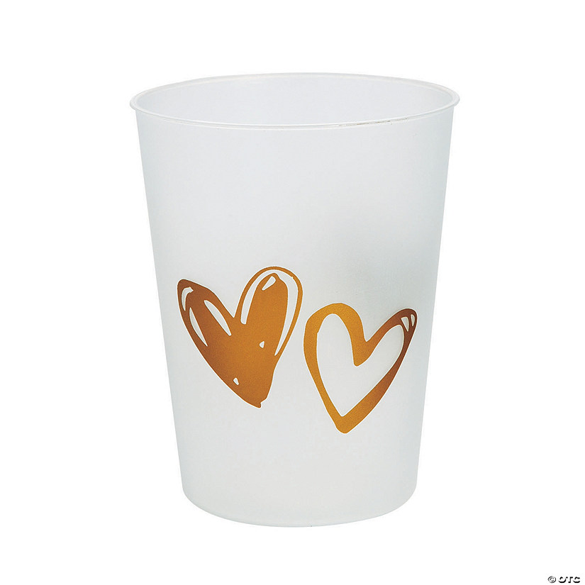 Gold Hearts Plastic Cups