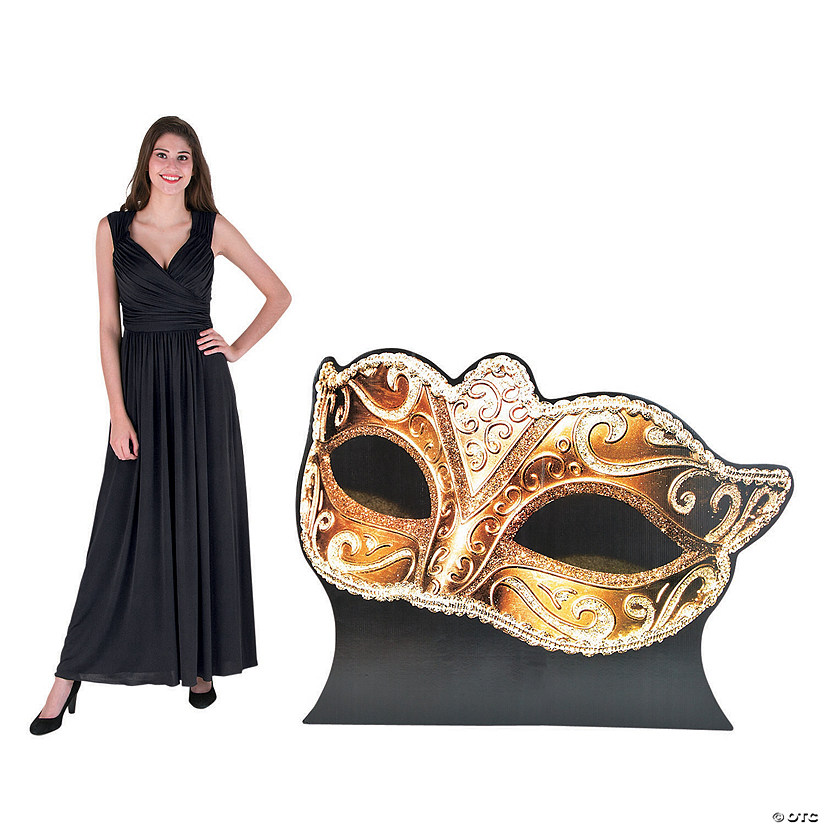Gold Masquerade Ball Mask Stand-Up