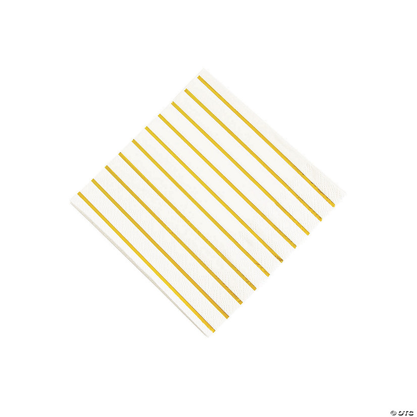 Gold Metallic Stripe Beverage Napkins Audio Thumbnail
