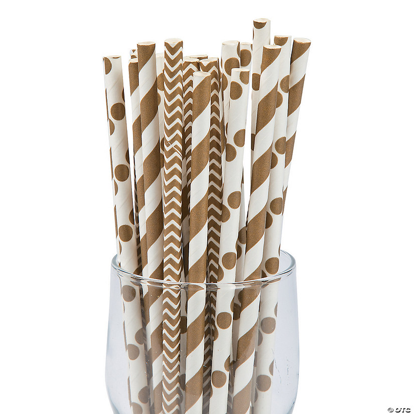 Gold Paper Straw Assortment