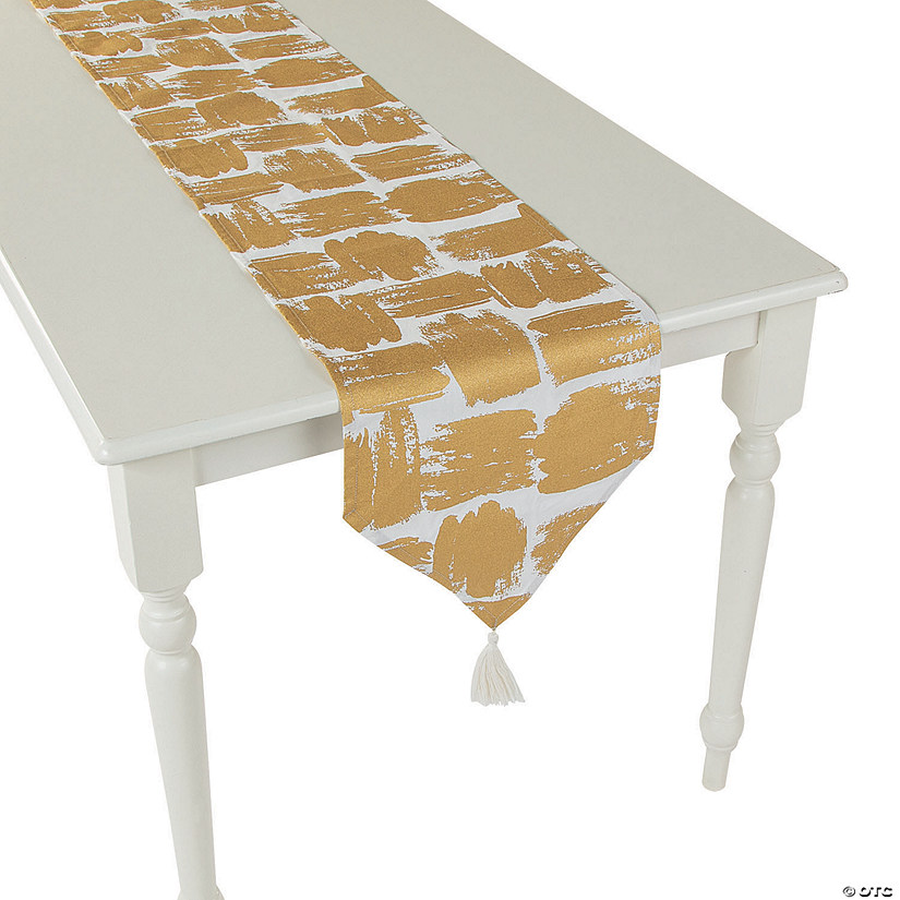 Gold Patterned Table Runner with Tassels Audio Thumbnail