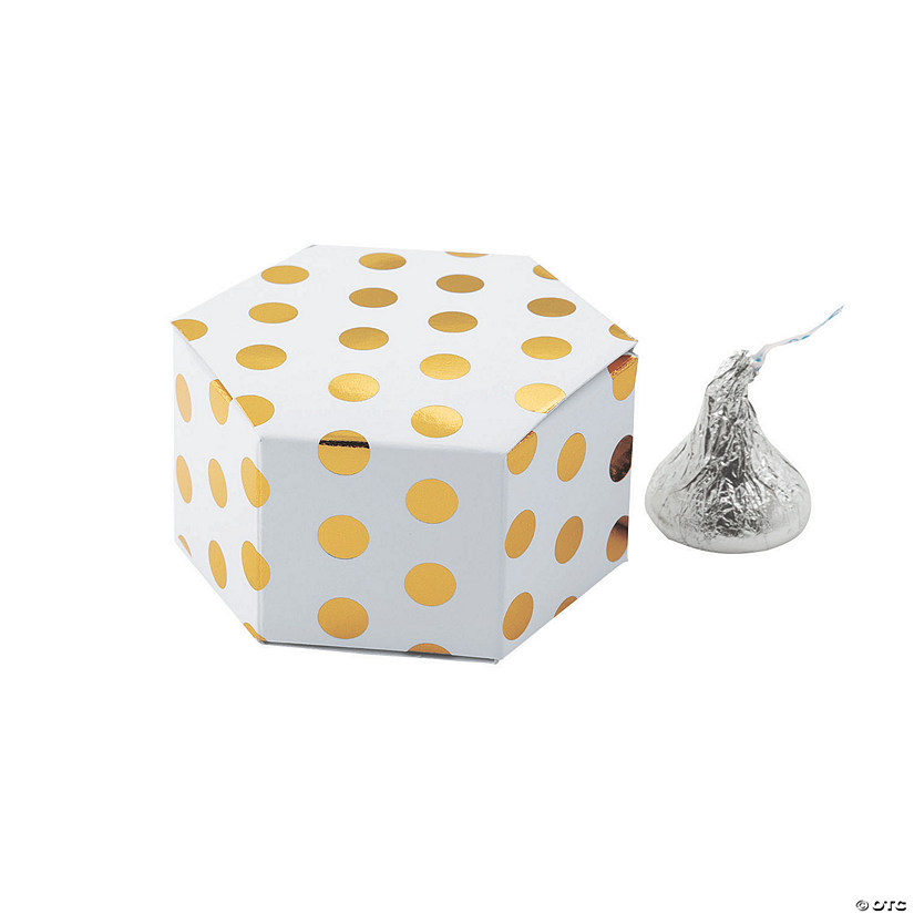 Gold Polka Dot Hexagon Favor Boxes