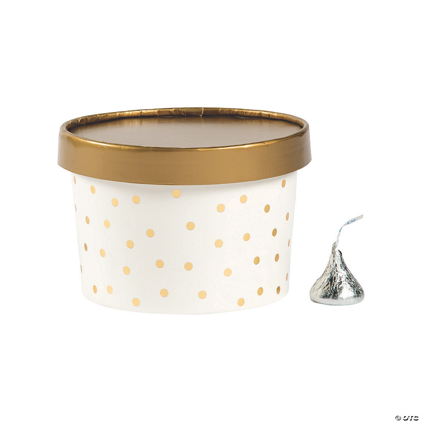 Gold Polka Dot Round Favor Boxes with Lids Audio Thumbnail