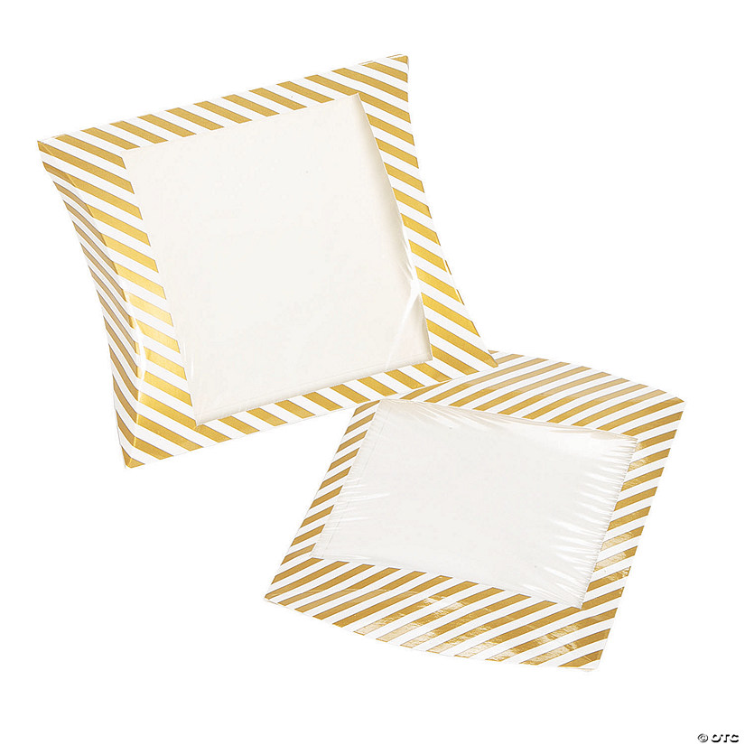 Gold Stripe Pillow Boxes with Window Audio Thumbnail