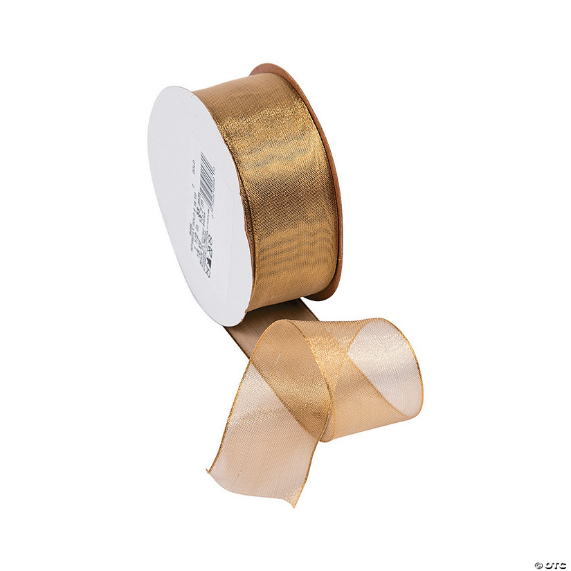 "Gold Wired Metallic Sheer Ribbon - 1 1/2"" Audio Thumbnail"