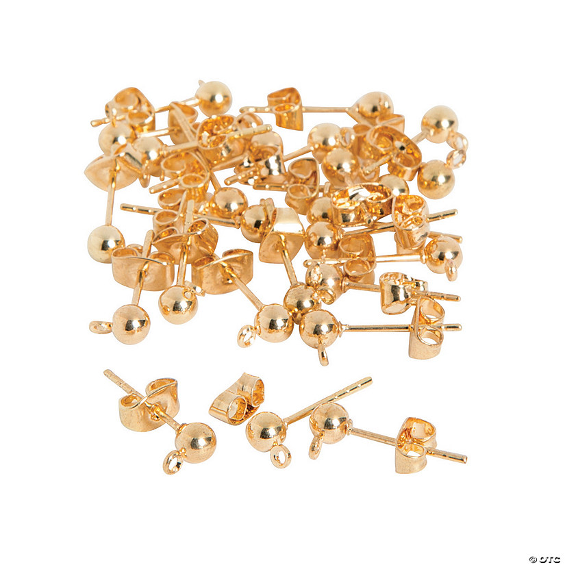 Goldtone Ball Earring Posts with Loops