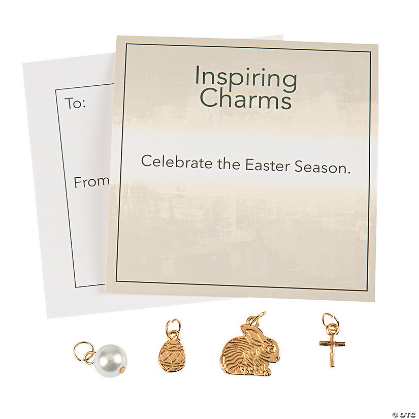 Goldtone Easter Charms with Inspirational Tag Image Thumbnail