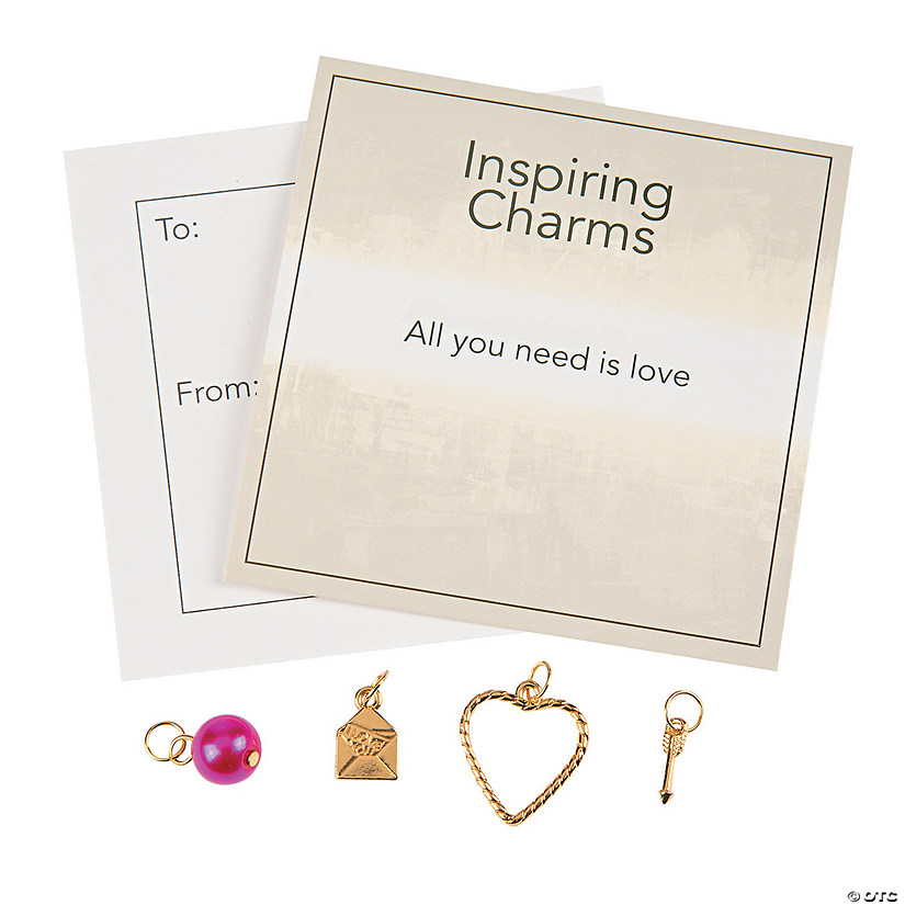Goldtone Valentine Charms with Inspirational Tag Image Thumbnail