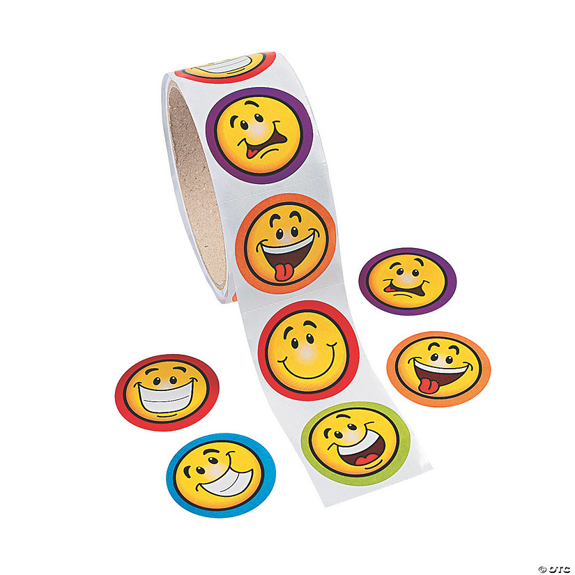 Goofy Smile Face Sticker Rolls Image Thumbnail