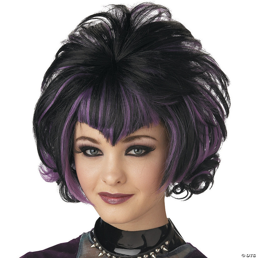 Goth Flip Black & Purple Wig