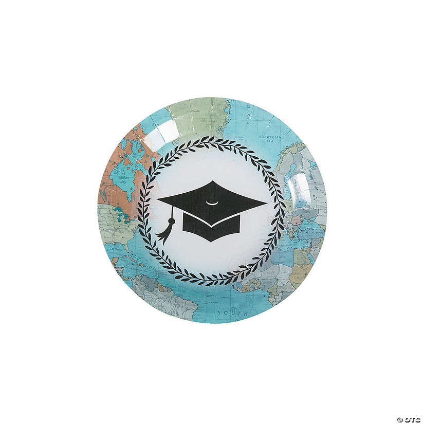 Grad Adventure Paper Dessert Plates - 8 Ct. Audio Thumbnail