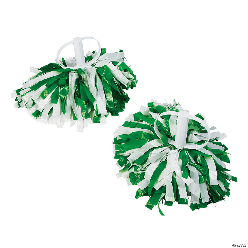 Green & White Spirit Show Pom-Poms