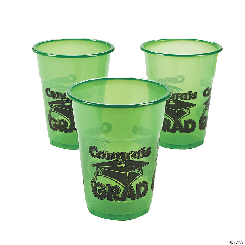 "Green ""Congrats Grad"" Plastic Cups Audio Thumbnail"
