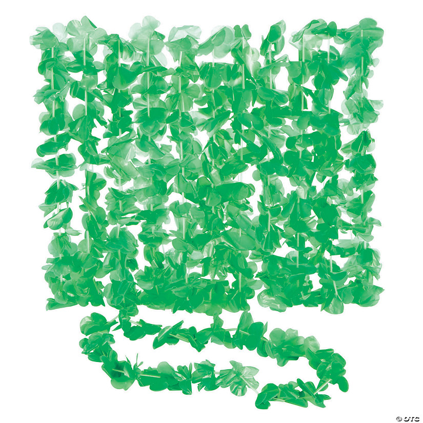 Green Flower Plastic Leis - 12 Pc. Audio Thumbnail