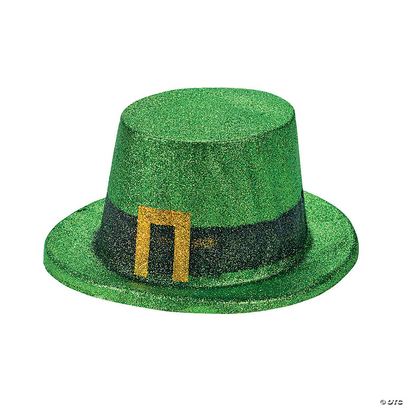 Green Glitter Leprechaun Top Hats