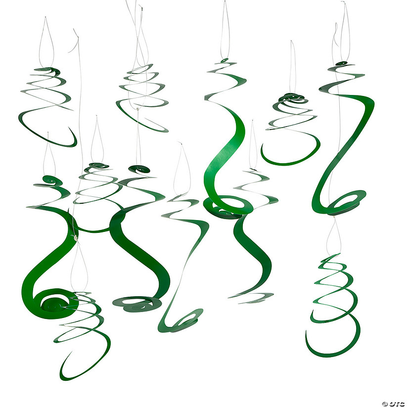 Green Hanging Swirl Decorations - 12 Pc. Image Thumbnail