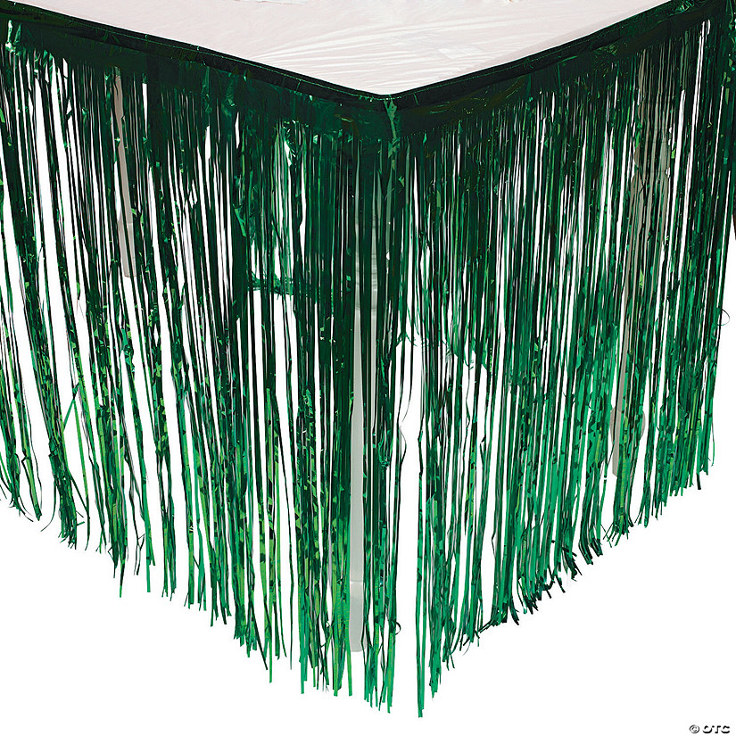 Green Metallic Fringe Plastic Table Skirt Image Thumbnail