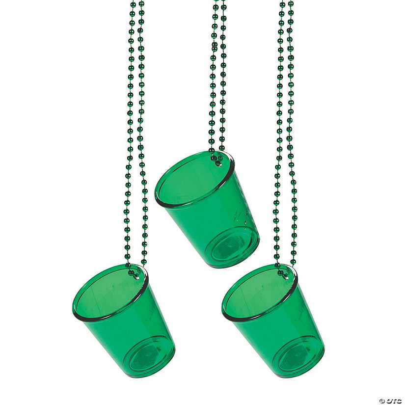 Green Shot Glass Beaded Necklaces Image Thumbnail