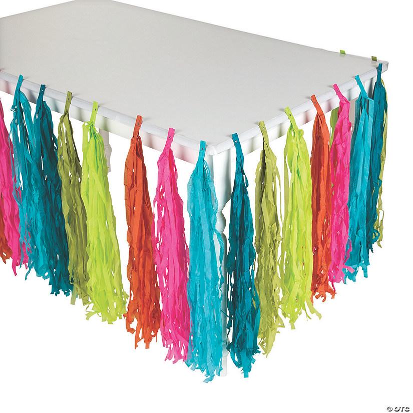Green/Blue/Orange/Pink Tropical Fringe Table Skirt Audio Thumbnail
