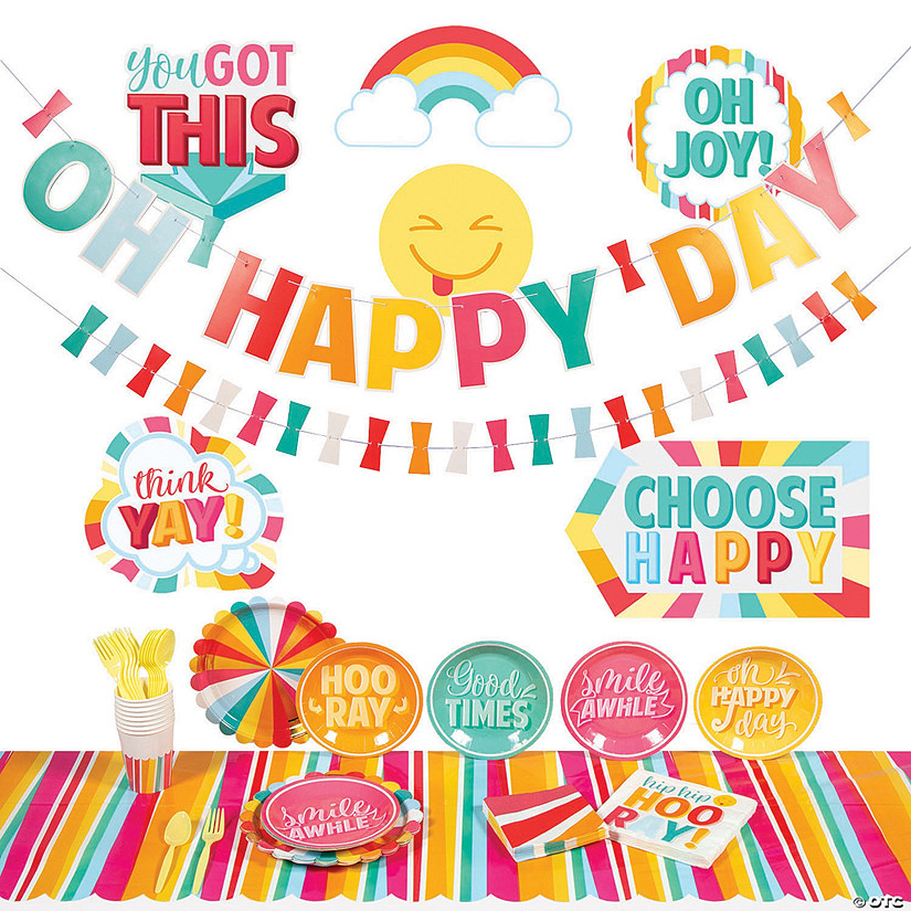 Happy Day Party Tableware Kit for 8 Guests Image Thumbnail