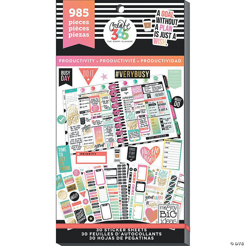 Happy Planner Sticker Value Pack-Productivity - Classic, 985/Pkg