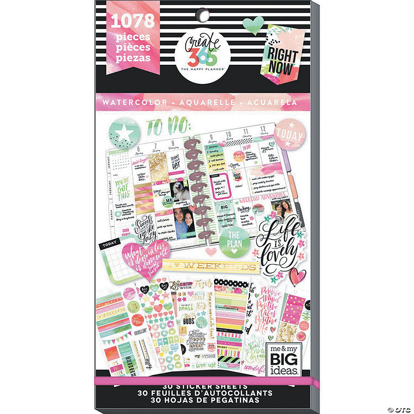 Happy Planner Sticker Value Pack-Watercolor - Classic, 1078/Pkg