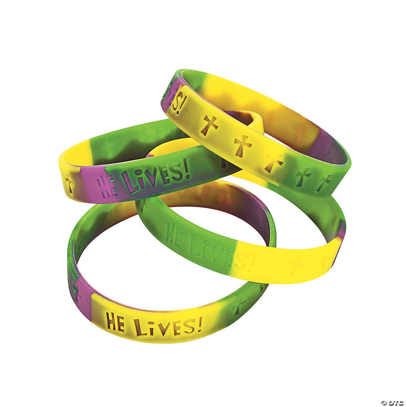 """He Lives!"" Sayings Silicone Bracelets Image Thumbnail"